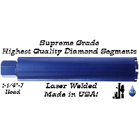 Builders Depot Blue Supreme Wet Core Bits 1 inch and higher
